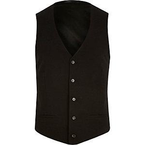 Black textured ribbed waistcoat