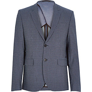 Navy geo slim suit jacket