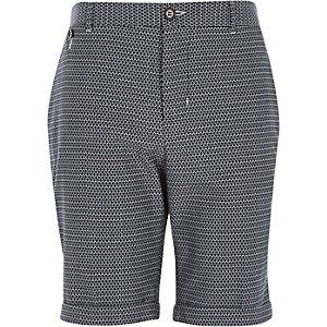Navy geo slim smart shorts
