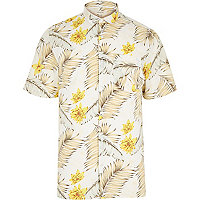 White Hawaiian print short sleeve shirt
