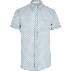 Blue shell print denim short sleeve shirt