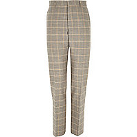 Grey check linen-blend smart trousers