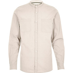 Ecru Oxford long sleeve grandad shirt