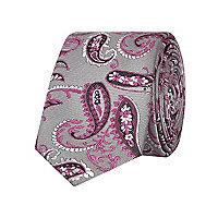 Grey paisley print tie