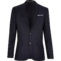 Dark navy wool-blend slim suit jacket