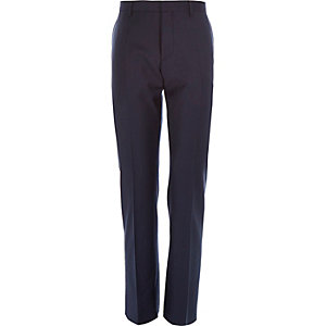 Dark navy wool-blend slim suit trousers