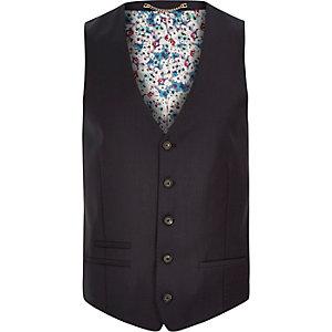Dark navy print lined wool-blend waistcoat