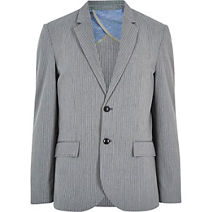 Grey cotton seersucker blazer