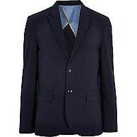 Navy blue cotton seersucker blazer