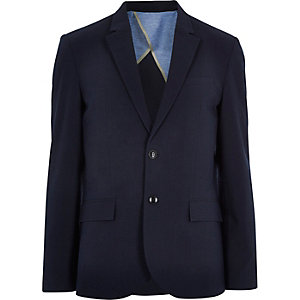 Navy blue cotton seersucker blazer