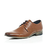 Brown leather plain lace up shoes