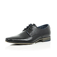 Black leather plain lace up shoes