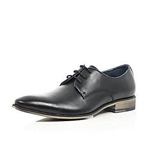 Black leather formal lace up shoes