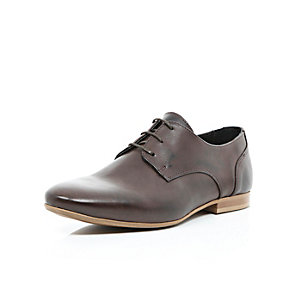 Brown leather contrast sole formal shoes