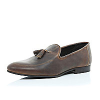 Dark brown worn leather tassel loafers
