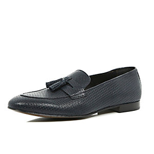 Navy leather embossed smart loafers