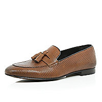 Brown leather embossed loafers