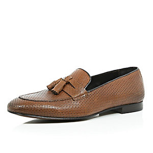 Brown leather embossed smart loafers