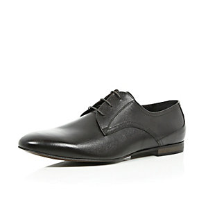 Dark brown textured leather formal shoes