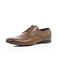Brown textured leather formal shoes