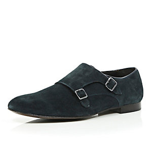 Navy suede double monk strap shoes