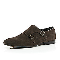 Brown suede double monk strap shoes