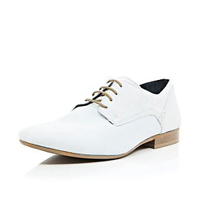 White suede formal lace up shoes