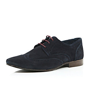 Navy suede contrast lace brogues