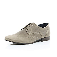 Stone suede lace up brogues