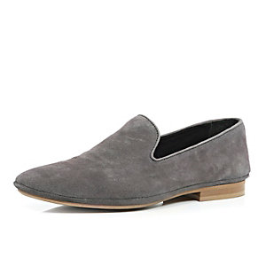 Grey nubuck leather slip on shoes