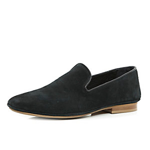 Black suede leather slip on shoes