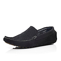 Black woven nubuck driving shoes
