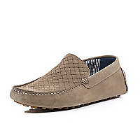 Dark beige nubuck woven driving shoes