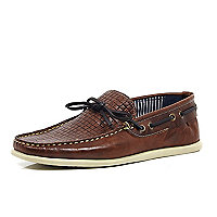 Brown woven leather driver shoes