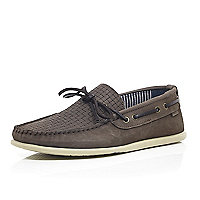Beige woven leather driving shoes