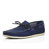 Blue woven leather driving shoes