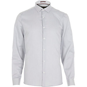 Grey stripe semi cutaway long sleeve shirt