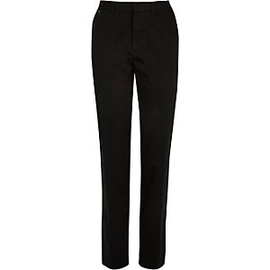 Black smart stretch slim trousers
