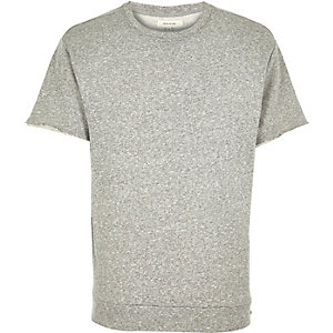Grey loopback short sleeve sweatshirt