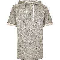 Grey short sleeve hoodie sweatshirt