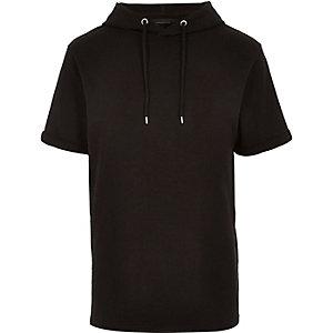 Black short sleeve hoodie sweatshirt