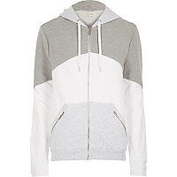 Grey block colour hoodie