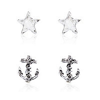 Silver tone anchor star earring pack