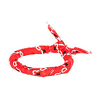 Red printed wrist bandana
