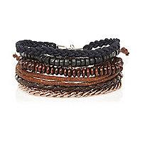 Navy woven bracelet pack