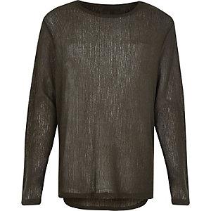 Dark green lightweight curved hem sweater