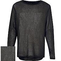 Black lightweight curved hem jumper