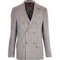 Grey linen-blend double breasted blazer