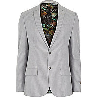 Grey stripe statement lining slim suit jacket