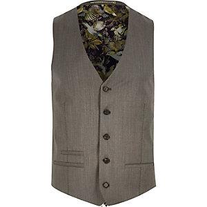Brown premium wool suit waistcoat